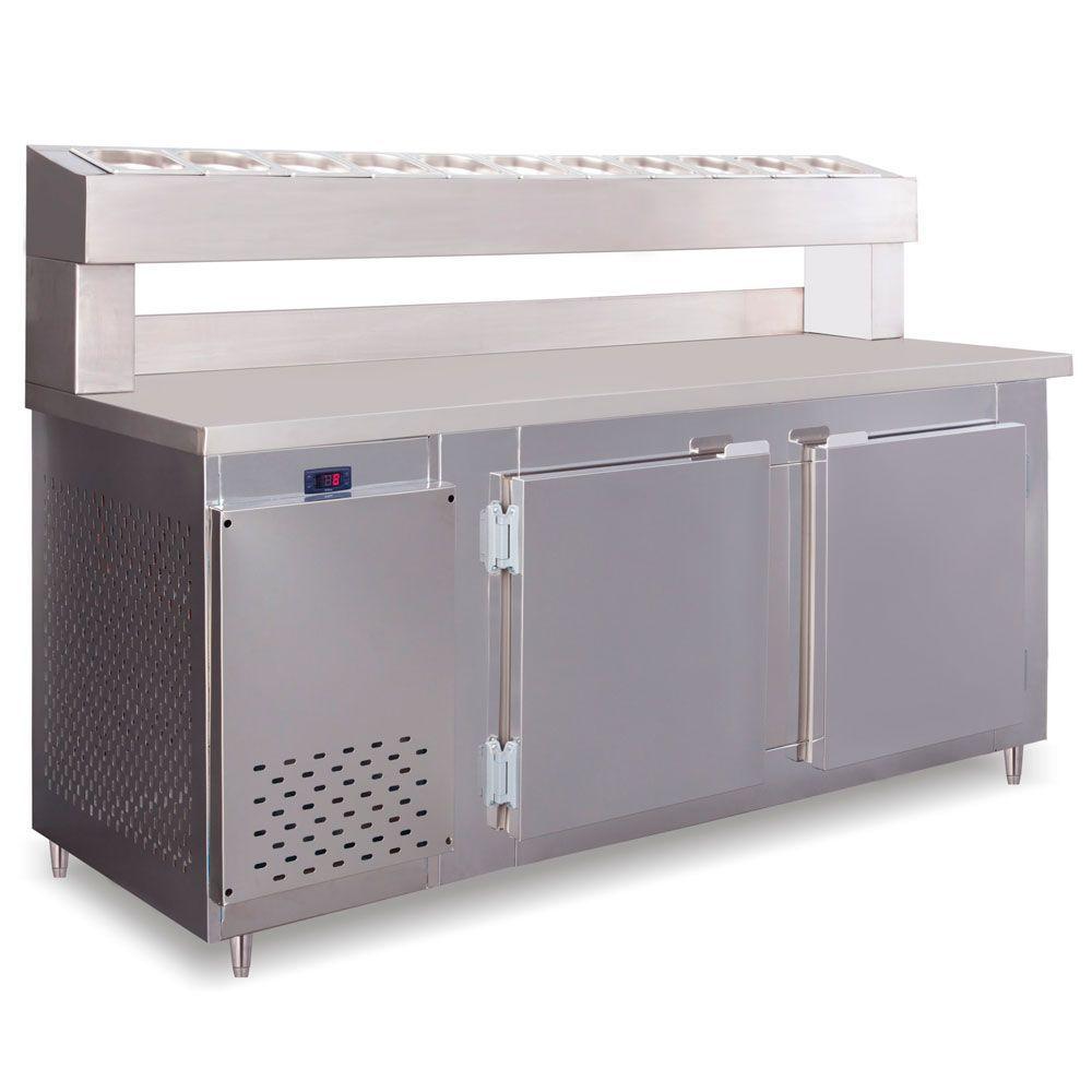 Balcão Condimentadora 1,50 mm C/Pista Dupla Capacidade 15 Cubas GN