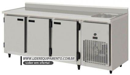 Balcão de Serviços Refrigerado Inox 2,00 mts Com Cuba  Kofisa
