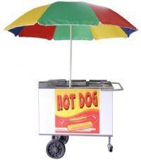 Carrinho hot dog com área de bebidas    chapa branca e inox