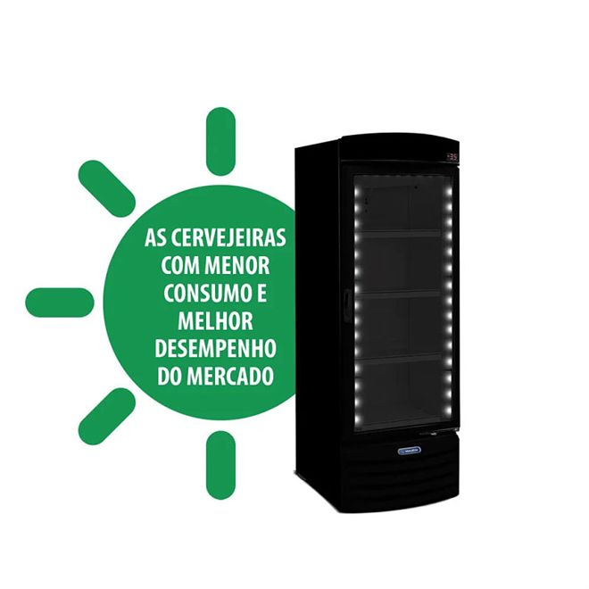 CERVEJEIRA PORTA DE VIDRO 572L VN50RH ALL BLACK - METALFRIO