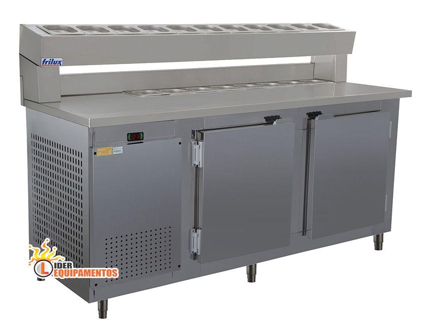 Condimentador Refrigerado 1,50 mm C/Pista Dupla 12 Cubas 1/6 Frilux