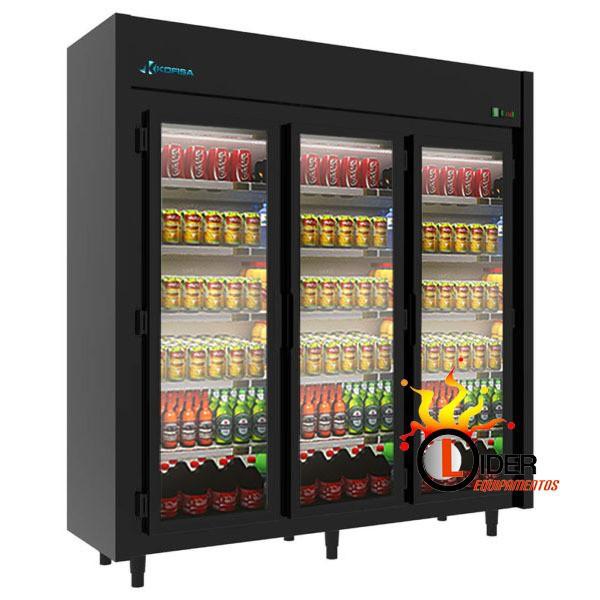 Expositor Refrigerado Auto Serviço 3 Portas 1.200 Litros Black Kofisa