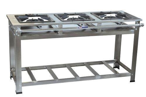 Fogão Industrial em Inox 3 Bocas 40 x 40 Alta Pressão Cristal-aço