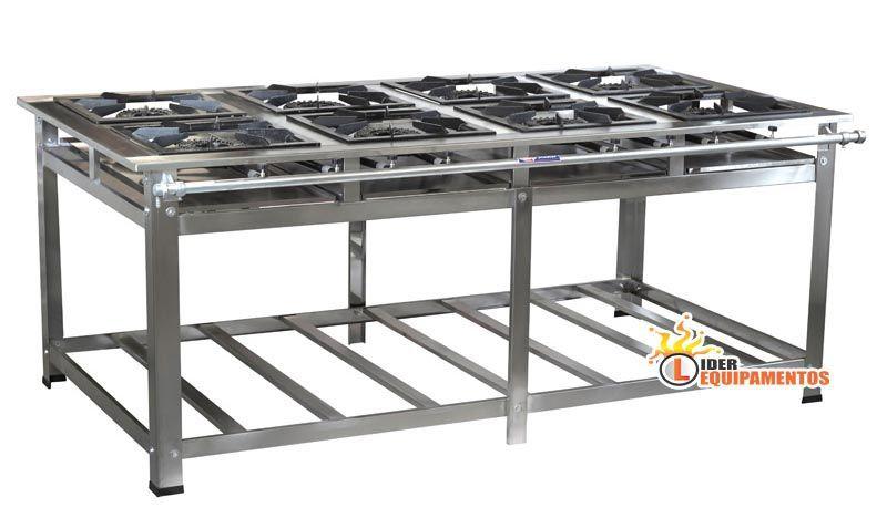 Fogão Industrial em Inox 8 Bocas 40 x 40 Perfil 10 Luxo Cristal-Aço