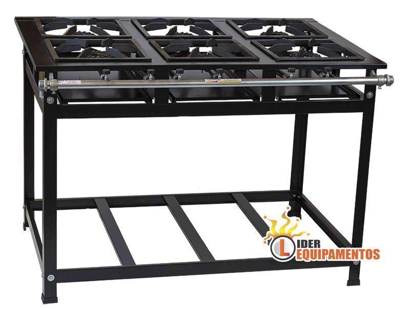 Fogão Industrial Master 6 Bocas 40 x 40 Alta Pressão Cristal aço