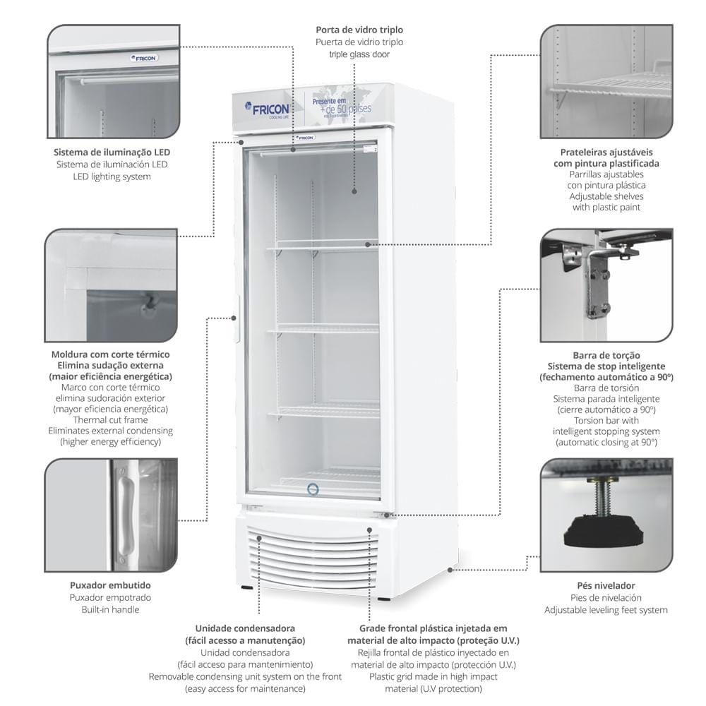 Freezer Dupla Ação Porta de Vidro -18 graus  VCED 565 Litros Fricon