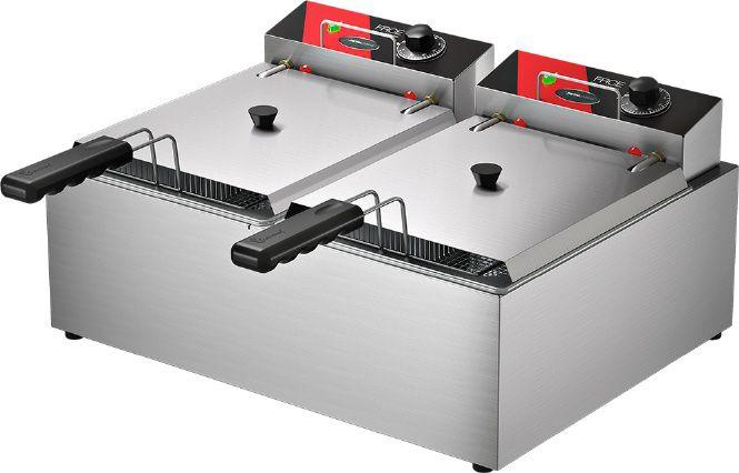Fritadeira Elétrica 10 Litros 2 Cubas de 5 Litros cada  8,000W de Potencia Metalcubas