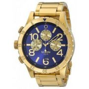 4a6ad6986 Relógio Nixon 48-20 Dourado Fundo Azul Item No. A486 1922