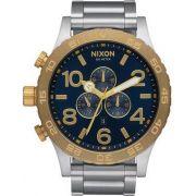 ed5aaed2124 Relógio Nixon 51-30 A083-1922 Misto Dourado e Prata Dial Azul