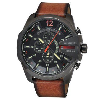106f090cf6f ... Relógio Diesel Mega Chief Dz4343 Pulseira Couro Marrom - New Store ...