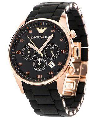 0f8228cd48a1b Relógio Emporio Armani AR5905 em Aço Inoxidável Silicone Preto - New Store  ...