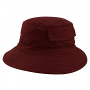 Chapéu Bucket 2 com bolso Street Style Tecido Leve Vermelho Escuro