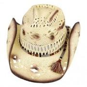 Chapéu Country Cavaleiro I Big Brother Branco Pintado  Aba 9 cm