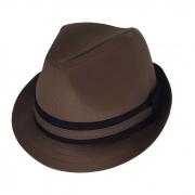 Chapéu Fedora Bicolor Tecido Marrom Escuro San Doná