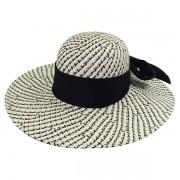 Chapéu Feminino Praia Capri Branco, Preto e Bege de Palha com Proteção UV 50+ e com Fita Preta