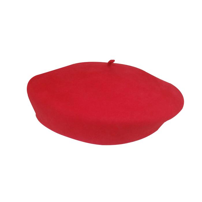 Boina Colegial Feltro de Lã Importada Vermelha