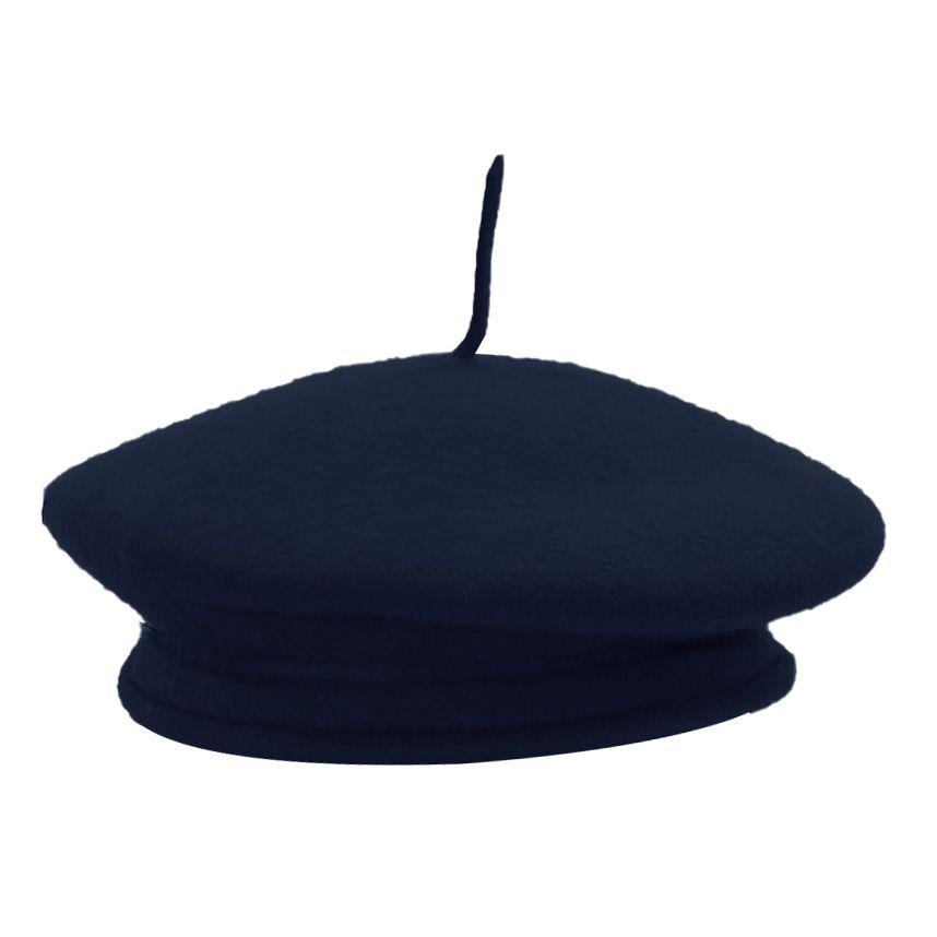 Boina Recoluta Francesa Feltro Azul Marinho