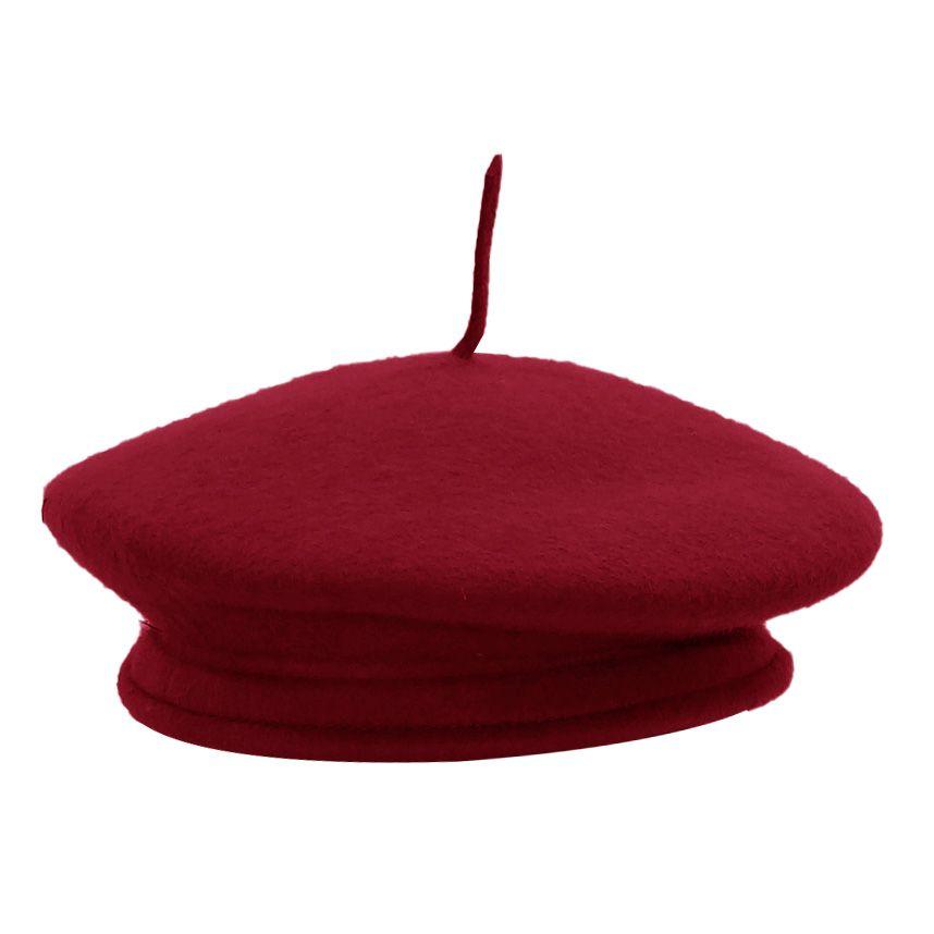 Boina Recoluta Francesa Feltro Vermelho Cardeal