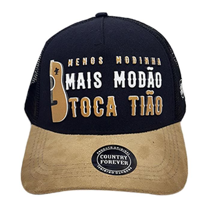 Boné Trucker Menos Modinha Mais Modão Toca Tião Preto