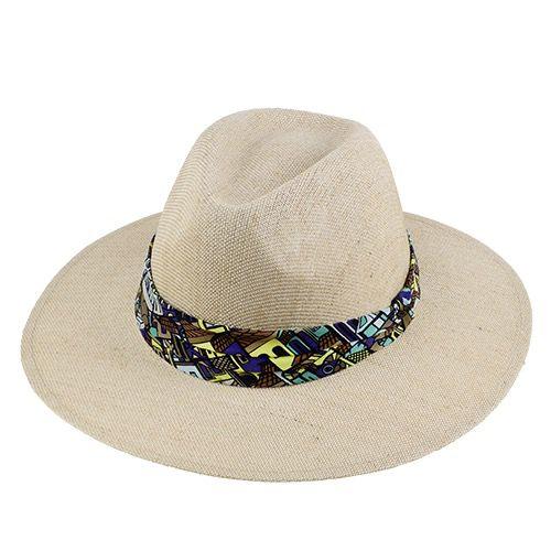 Chapéu Amapola Fibra Natural fita Estampada feminino aba larga