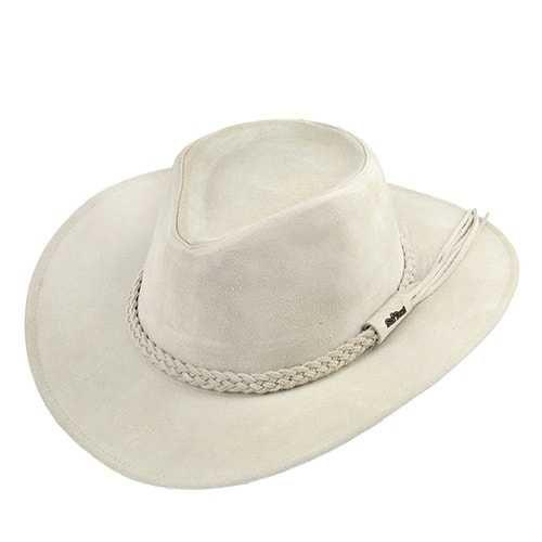Chapéu Australiano 100x Couro Camurça Marfim Aba 7 cm