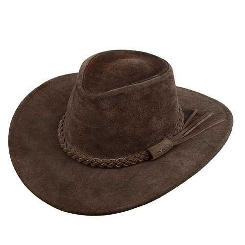Chapéu Australiano 100x Couro Camurça Marrom Aba 7 cm