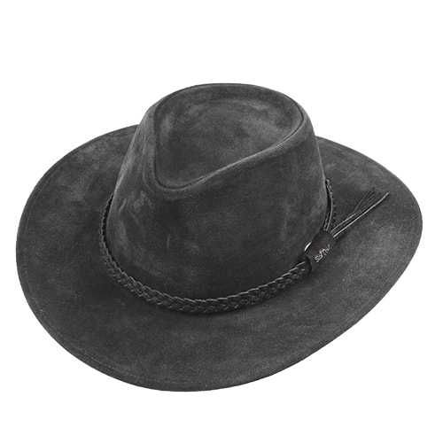 Chapéu Australiano 100X Couro Camurça Preto Aba 7cm
