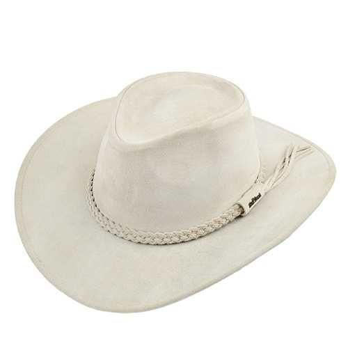 Chapéu Australiano Couro Camurça Marfim aba 8,5 cm