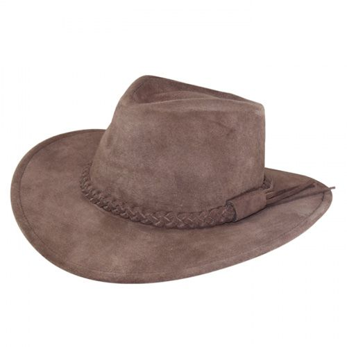 Chapéu Australiano Couro Camurça Marrom aba 8,5 cm