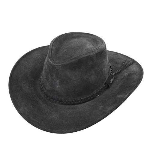 Chapéu Australiano II Couro Camurça Preto aba 8,5 cm