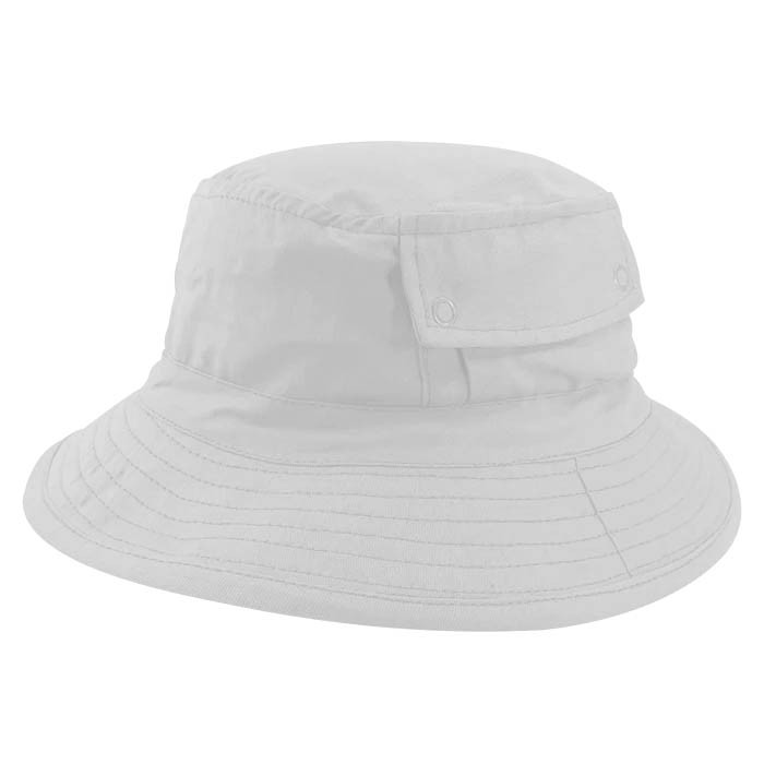 Chapéu Bucket 2 com bolso Street Style Tecido Leve Branco