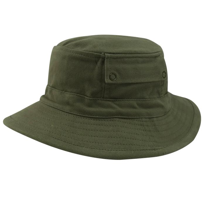 Chapéu Bucket em Brim Leve Caqui com Bolso San Doná. REF.: 091.00.06.057
