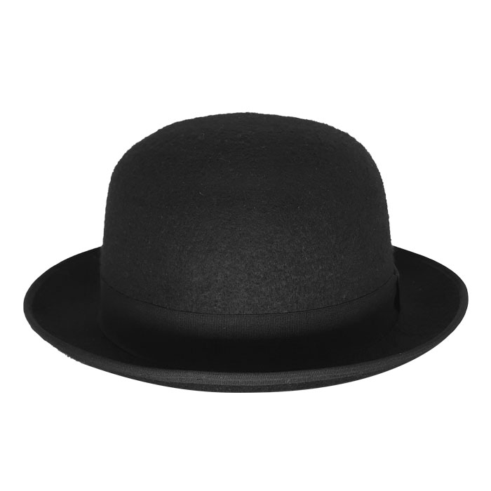 Chapéu Coco Chaplin Feltro de Lã Preto