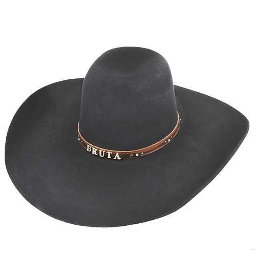 Chapéu Country Top Bull de Lã 30x Preto Aba Baixa 13 cm