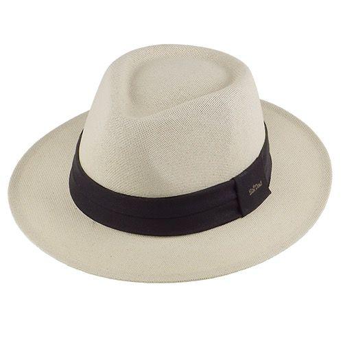 Chapéu Diamante Cânhamo Clássico Fita Preta Aba 6cm