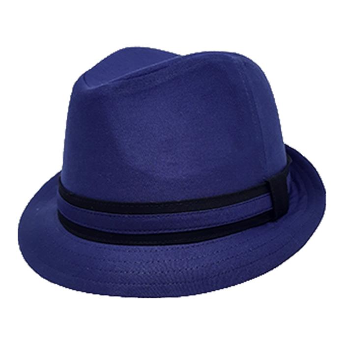 Chapéu Fedora Bicolor Aba Curta Azul