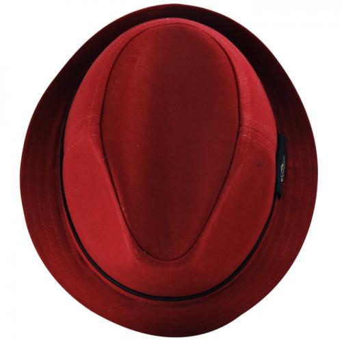 Chapéu Fedora Bicolor Social Tecido Vermelho Escuro San Doná