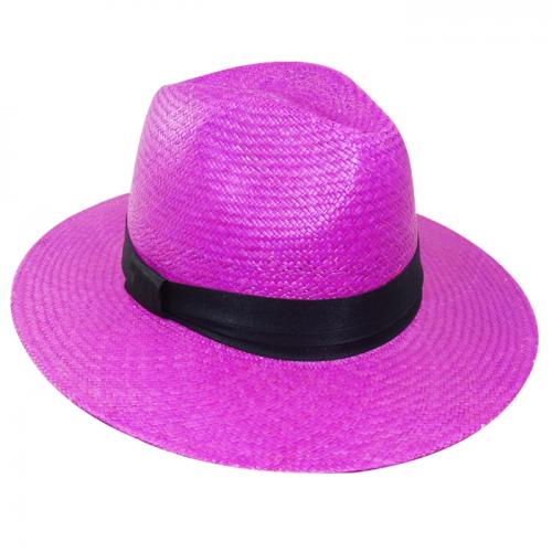 Chapéu Feminino Panamá Amapola Rosa Pink com fita preta San Doná Ref: 016.07.01.040A