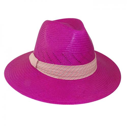 Chapéu Feminino Panamá Amapola Rosa Pink com fita rosa claro San Doná Ref: 016.07.01.040C