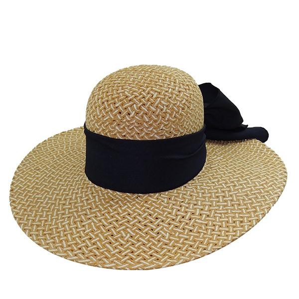 Chapéu Feminino Praia Capri Caramelo e Branco de Palha Bicolor com Proteção UV 50+ com Fita Azul