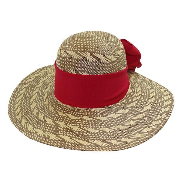 Chapéu Feminino Praia Capri Cores Mescladas de Palha com Proteção UV 50+  e com Fita Vermelha