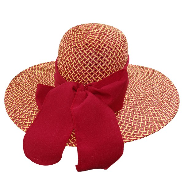 Chapéu Feminino Praia Capri Vermelha de Palha com Proteção UV 50+  e com Fita Vermelha