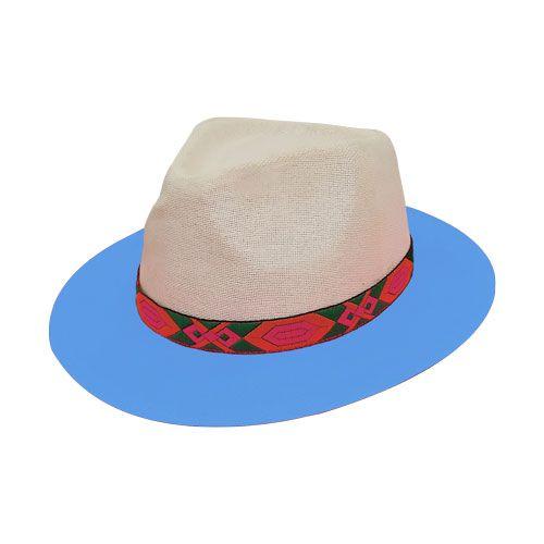 Chapéu Panamá De Palha Bicolor Aba Média