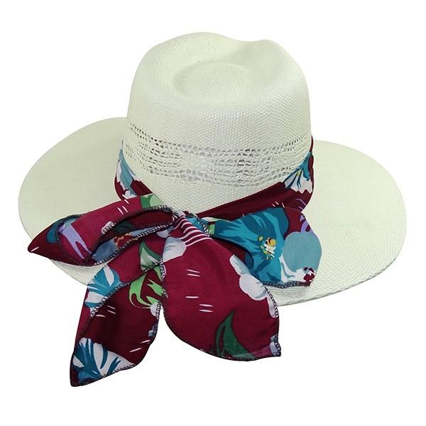 Chapéu Rock Sport UV 50+ Bangora Branco com Faixa Florida de Verão