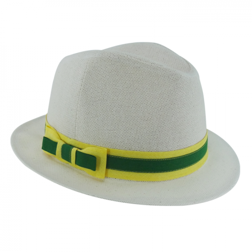 Chapéu Salvador Musas Feminino em Cânhamo Fita Verde Amarelo com Laço