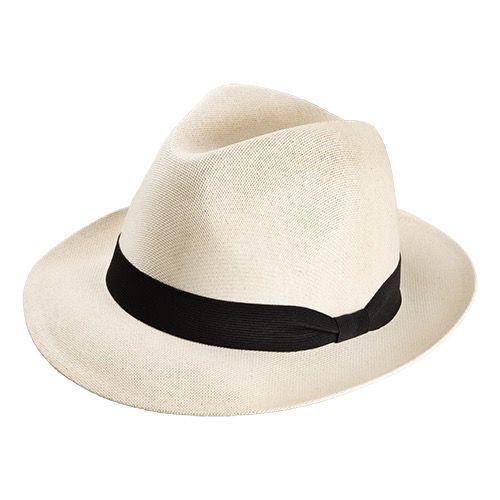 Chapéu Social em Canhamo cor Natural Aba 5cm Fita Preta