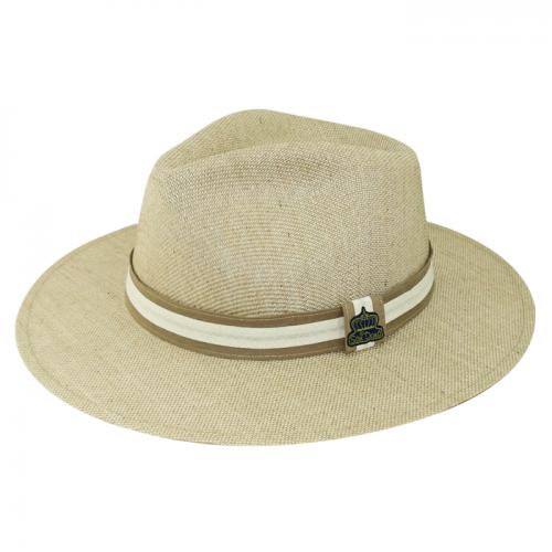 Chapéu Trento em Fibra Mista Natural fita bicolor Aba 7 cm