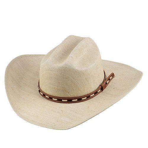 Chapéu Tropeiro Country San Doná em Fibra Natural com Fita de Couro Aba 11cm