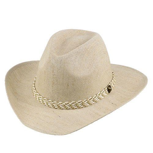 Chapéu Verbano Fibra Mista Natural Aba 7,5cm Fita Trançada