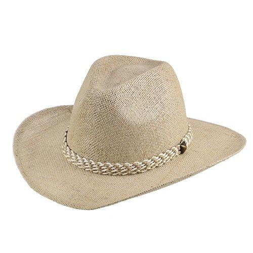 Chapéu Verbano Juta Natural Aba 7,5cm Fita Trançada
